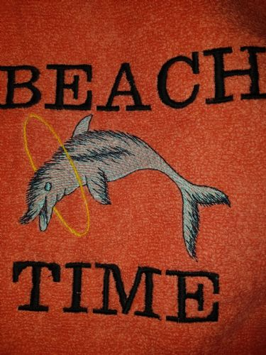 Embroidered orange beach towel ( beach time dolphin )